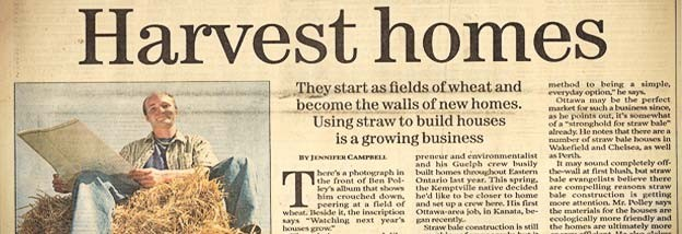 A newspaper article featuring Harvest homes
