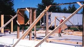Photo of construction of straw bale home using Nebraska method